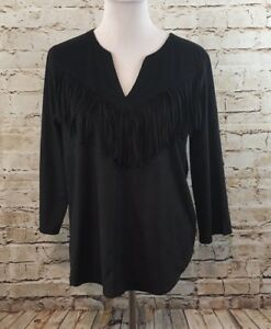Express-shirt-womens-XS-faux-suede-fringe-vneck-black-3-4-slv-western-new-H0