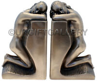 Vintage Art Deco Design Bronze Nude Lady Bookends Made From Bronze Finish Resin