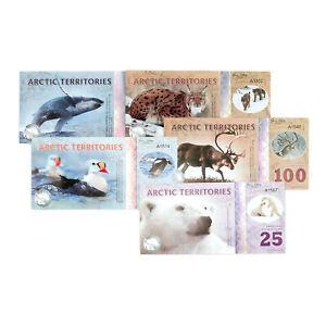 1 Set Of 5 Verschiedene Arctic Terr. 25,50,100,250,500 Polar Dollars 2017 Xf-au