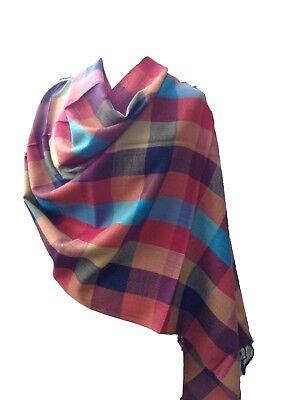 Beautiful Multi Coloured Stripped Border Pashmina Feel Scarves Shawl Stole Wrap Head Scarf Black