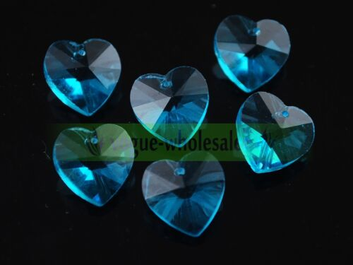 Wholesale 14mm Czech Faceted Heart Hanging Pendant Crystal Glass Loose Beads HOT