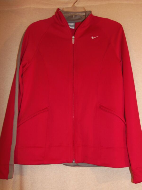 Nike Fit Dry Ladies Red/gray Zip Front Long Sleeve Jacket - Size S (4 - 6)