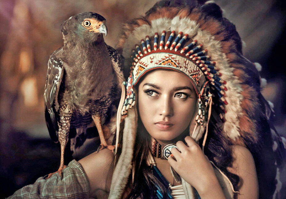 Girl Native American Indian Headdress Art Quality Canvas -2828