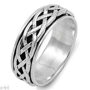 4f918c288b8 Details about Men or Woman Unisex Infinity Crossover Celtic Spinner  Sterling Silver Band Ring