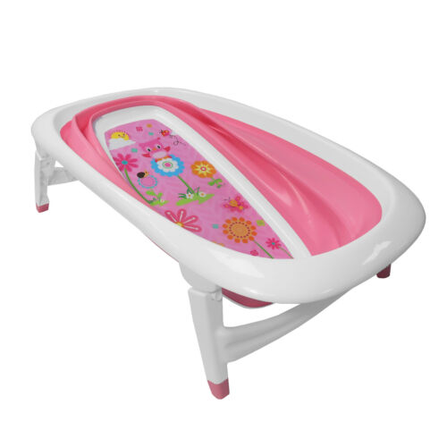 Baby Bath Time Pink Floral Design Foldable Splash /& Play Transportable BathTub