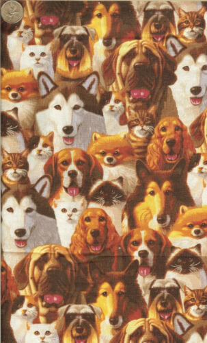 "KAUFMAN DOG//CAT FACES BTFQ 18/""X22/"" 2994 RARE PATT"