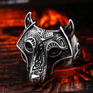 Norse Viking Nordic Wolf Animal Thor Hammer Man Ring Fashion Punk Rock hot sale