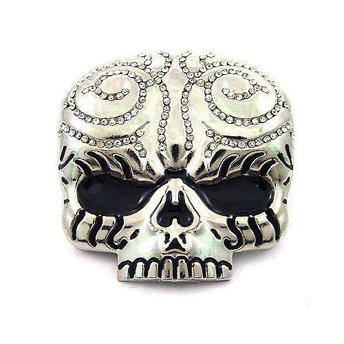 Tattoo Evil Skull Head Skeleton Rhinestones Silver Chrome Metal Belt Buckle