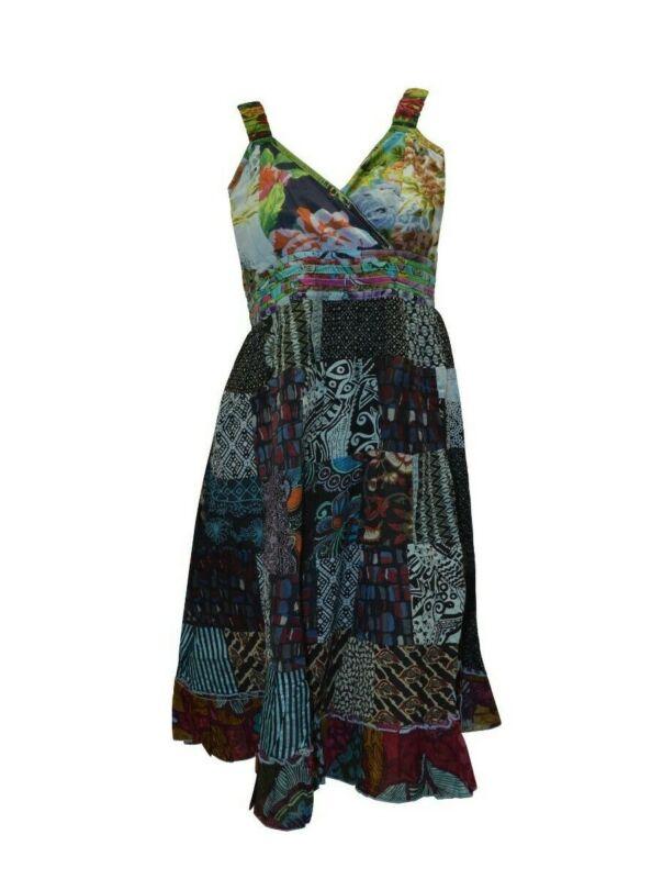100% Baumwolle Boho Hippie Retro V-ausschnitt Lagenlook Blumen Kurz Kleid P64