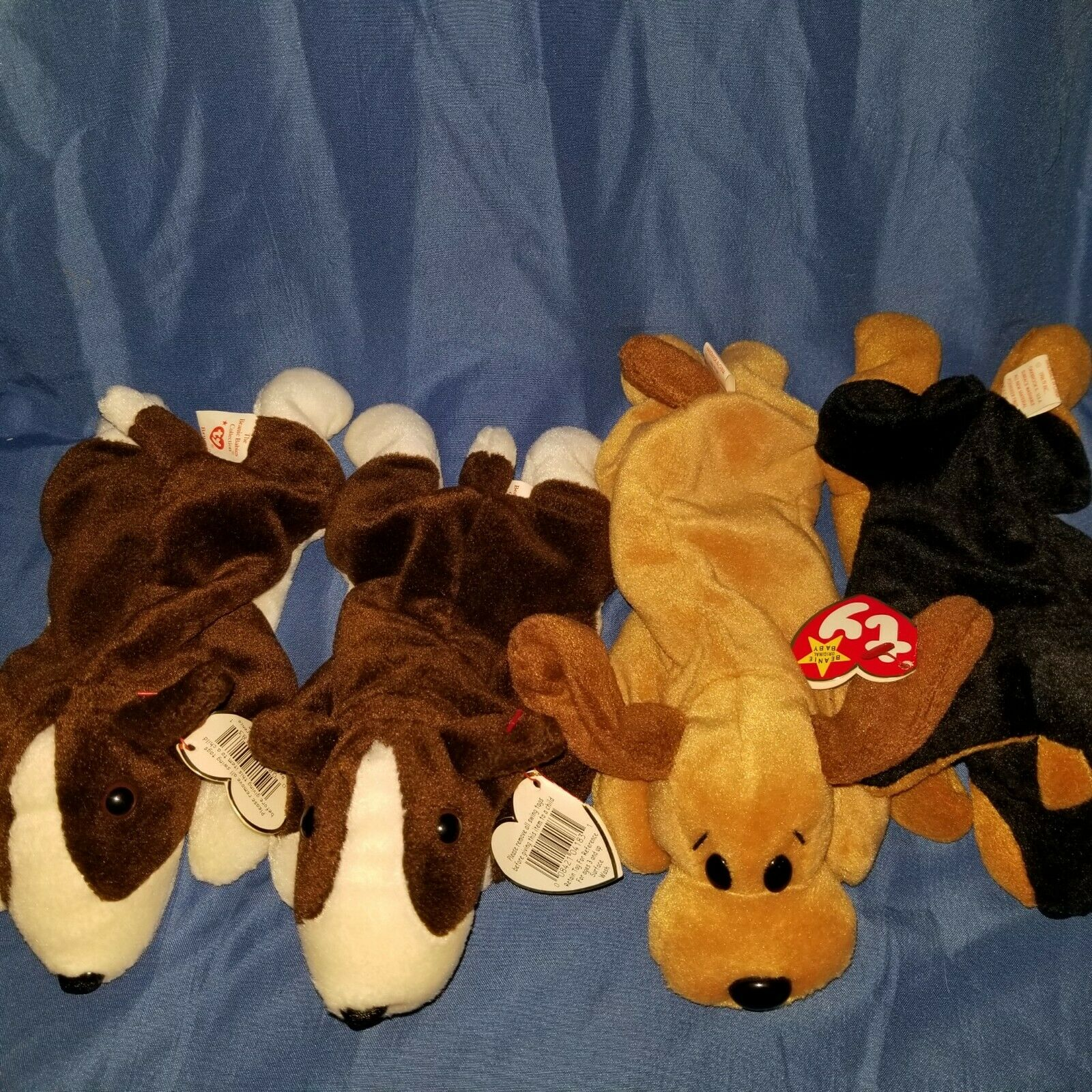 Lot Of 4 Ty Beanie Babies 2 Brunos, Bones & Doby All 4 Dogs Have Errors
