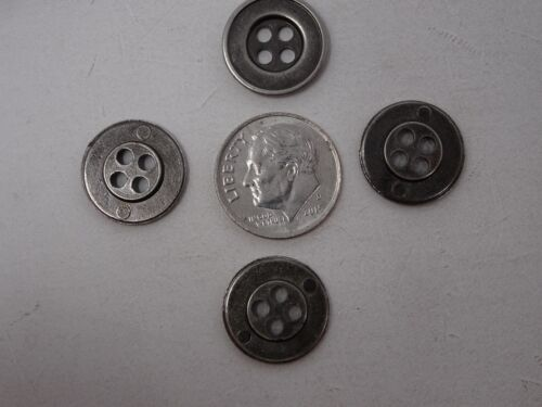 Vintage Ombre Black Silver 4-Hole Button Steampuck 15mm Lot of 10 B138-11