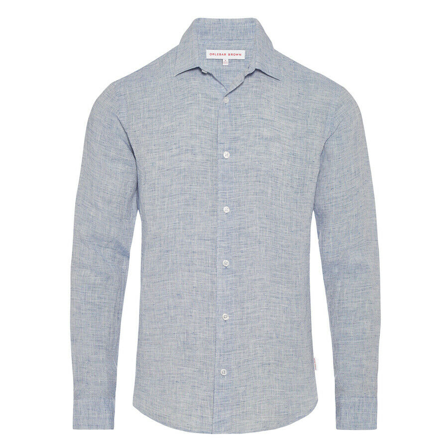 Orlebar Brown - Giles Linen Shirt in Navy & White - Size L - RRP £175