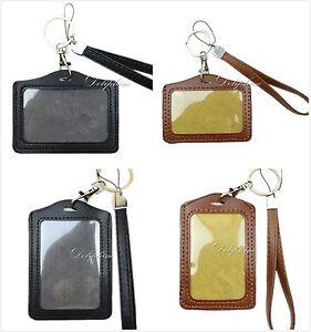 Black/Brown Wristlet Leather PU Lanyard with Vertical/Horizontal ID badge holder