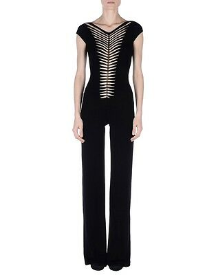 PLEIN SUD Black Stretch Metal Cut Out Dress Jumpsuit 40 4