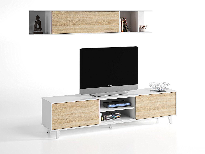 Mueble salon TV modulo bajo + estante estilo nordico blanco y roble...