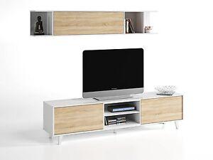 Mueble Salon Tv Modulo Bajo Estante Estilo Nordico Blanco Y Roble