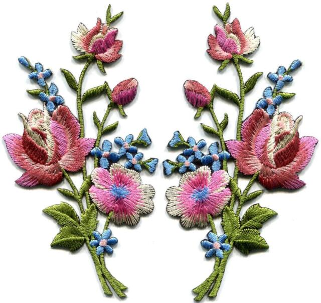 Mauve pink roses pair flowers embroidered appliques iron-on patches new S-1226