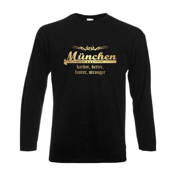 Longsleeve München harder better faster stronger Langarm Städteshirt (SFU10-31b)