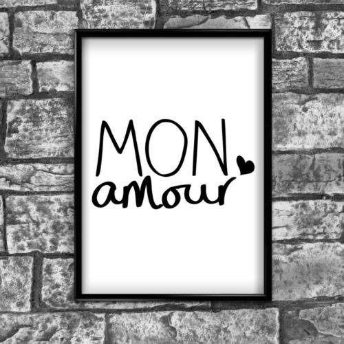 Mon Amour Motivational Inspirational Positive Quote Poster Print Wall 75