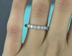 be230df41e7b5 Details about $5,225 Tiffany & Co Embrace Platinum Round 7 Diamond 0.57ct  Wedding Band Size 7