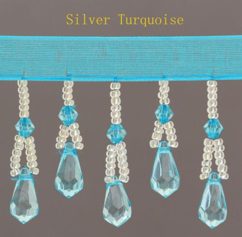 New Organza Silver Beaded Trim Fringe   Available in 11 Different Colours #1
