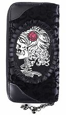 Gothic FLOCCATO Ivy CAMEO SKULL elegante Wallet Purse by Banned Nero Rockabilly