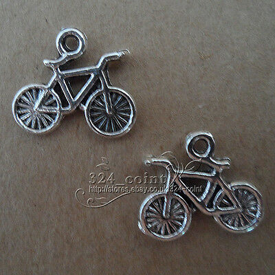 P110 15pcs Tibetan Silver Charms 2-Sided bicycle retro Accessories Wholesale