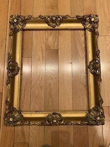ANTIQUE-FITS-16x20-Inches-Gilded-FRENCH-CARVED-WOOD-BAROQUE-PICTURE-FRAME
