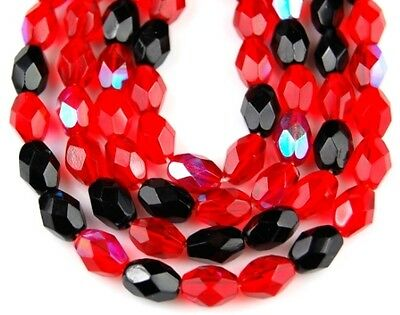 50pcs Czech Mix Oval Faceted Fire Polished Ruby Red Glass Loose Beads 6x8mm