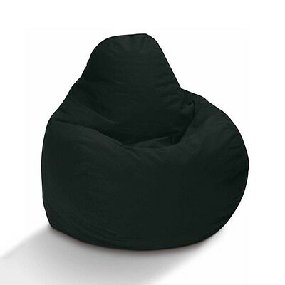 Teardrop Bean Bag Beanbag Skin Lounge Chair Black Cotton