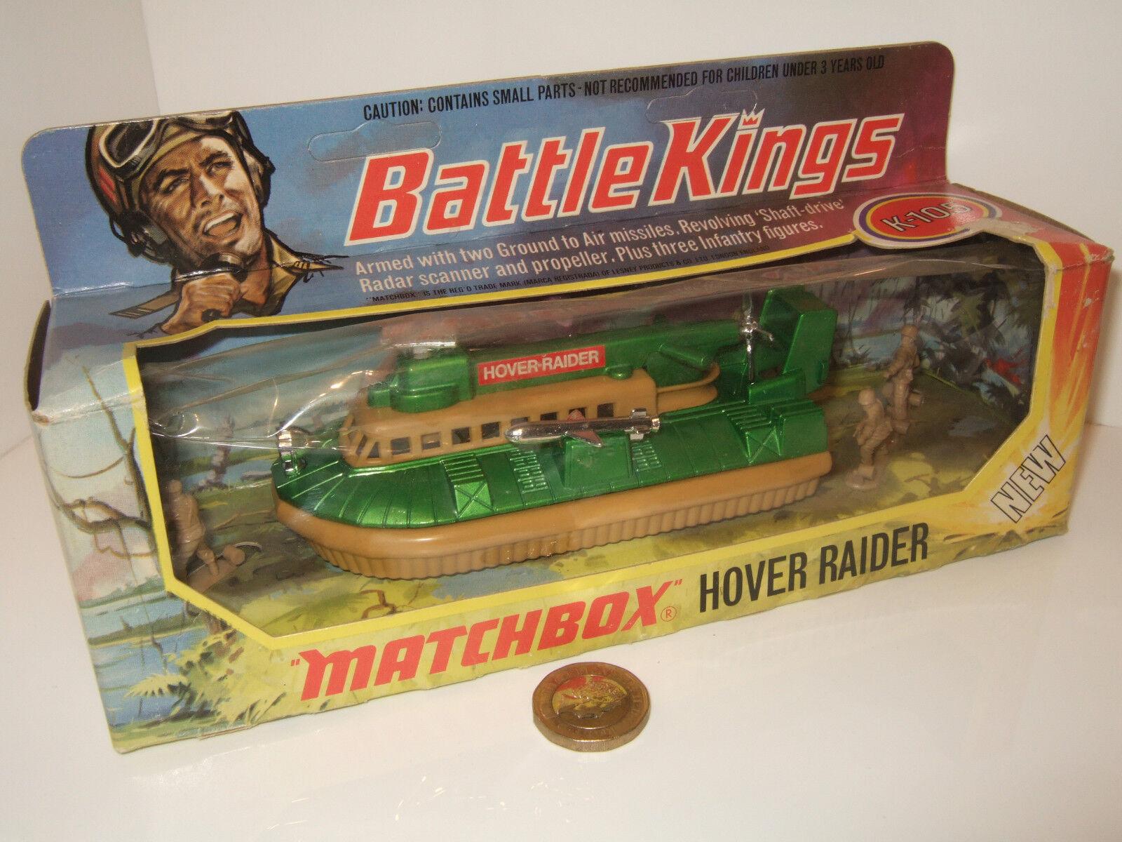 Vintage Matchbox Battle Kings K-105 Hover Raider & 3 Infantry Figures