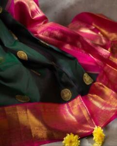 Designer-Black-Silk-Blend-Jacquard-Saree-Sari-Blouse-Rich-Pallu-Indian-Women