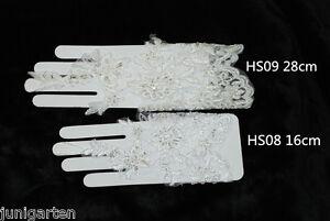 Fingerlose-Brauthandschuhe-Handschuhe-Hochzeit-Spitze-Kurz-Lang-WEIss-CREME
