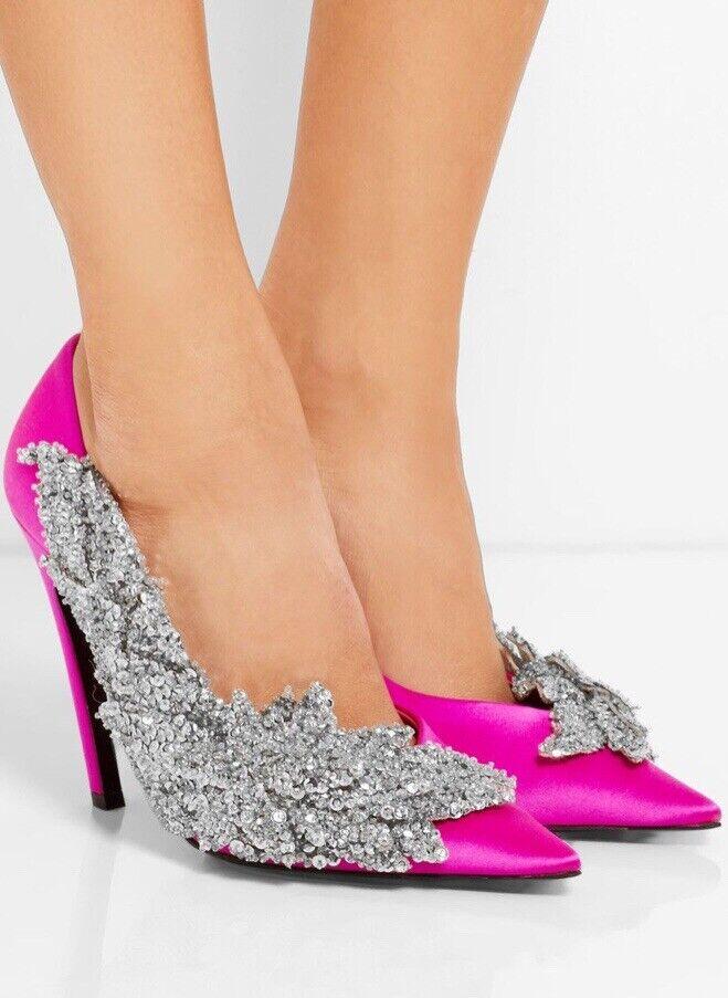 Balenciaga Talon Knife Slash Crystal Pink Satin Pump Heels Size 9