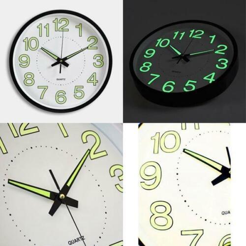 12 Inch Luminous Wall Clock Glow In The Dark Silent Quartz Indoor//Outdoor Gr