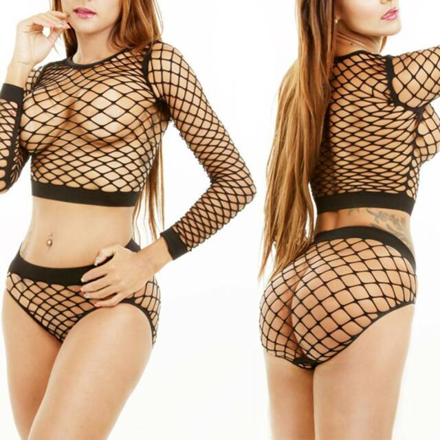 Womens Crop Top All Mesh Fishnet Long Sleeve Stretch Vest T Shirt+Panties Set