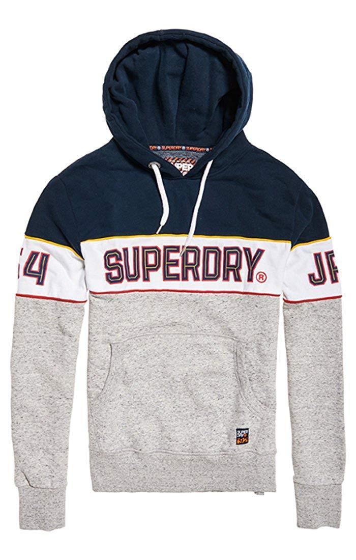 Superdry Retro Stripe Hooded Sweatshirt Navy(Three Pointer Navy) S-XXXL