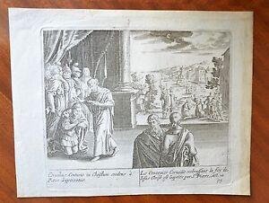 Gravure Xviiième - Le Centurion Corneille Baptisé Par St Pierre - Jésus-christ