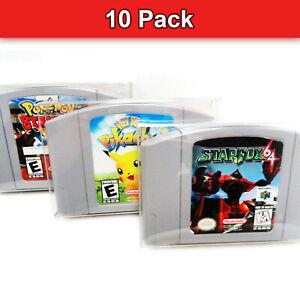 Pet Transparente 10x Caja protectora caso pantalla N64 Juego Cartucho Nintendo 64