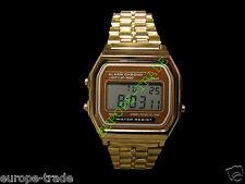 Classic Gold Metal Watch Fashion Vintage Digital Display Retro LCD Style 80s
