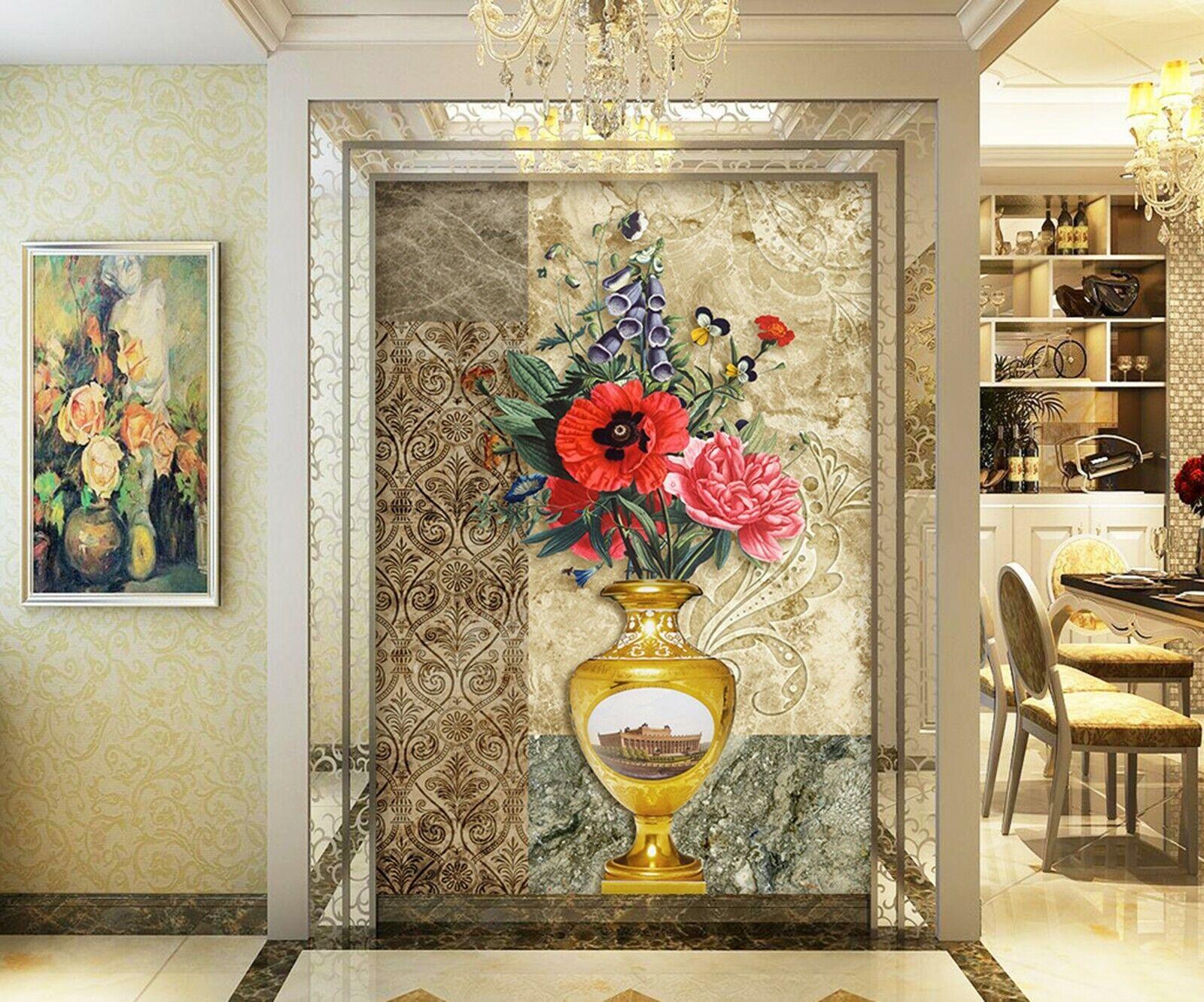 3D Flowers Vase I302 Wallpaper Mural Sefl-adhesive Removable Sticker Kid Wendy