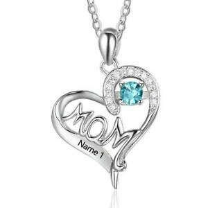 Sterling Silver Women Necklaces Free Engraving Name Custom Name Mothers Day Gift
