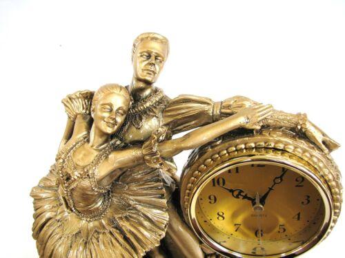 NEW GOLD BRASS TONE RESIN WOMAN+MAN BALLET,BALLERINA CLOCK+BOX-5306