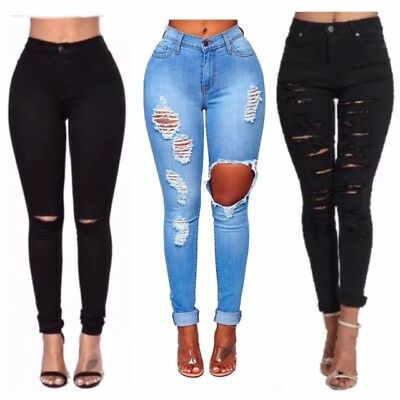 WOMENS LADIES GIRLS HIGH WAISTED EXTREME RIPPED BLACK SKINNY JEANS SIZE 8 TO 16