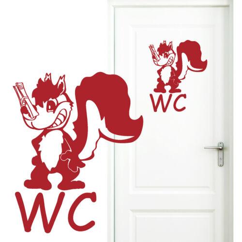 11003 Wandtattoo Loft WC Aufkleber Türaufkleber Bad Toilette Klo Stinktier