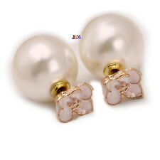Women's Celebrity White Pearl Double Side Gift Double SideEarrings Ear Studs Pin