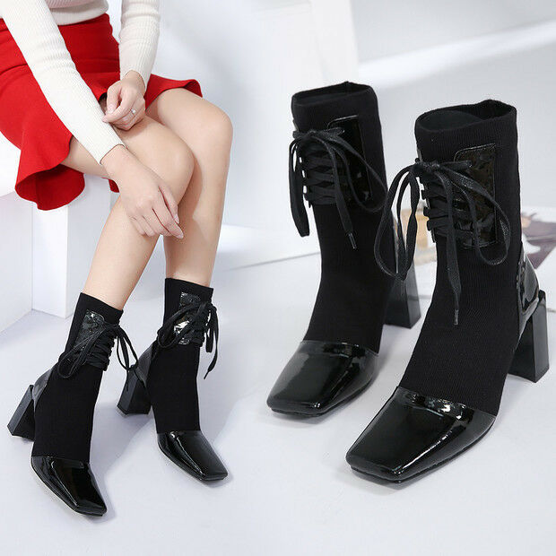 botas stivaletti bassi  stiletto 8 cm caviglia negro  pelle sintetica 9572