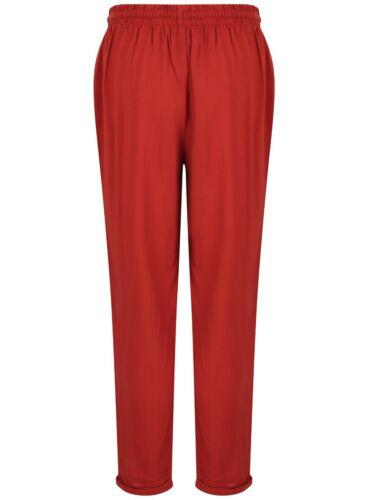 Ladies Harem Trousers Tapered Tie Belt Elastic Waist Summer Stretch Plus Size