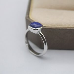 New-Design-925-Sterling-Silver-with-Cushion-Lapis-Lazuli-Ring-Size-5-9