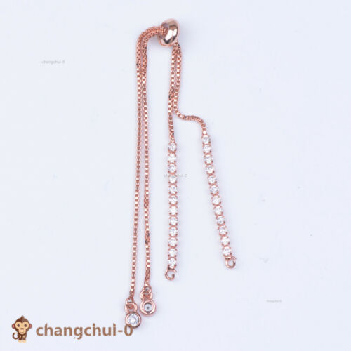 Copper Zircon Micro Pave Connector Adjustable Bracelet Chain Silver Rose Gold
